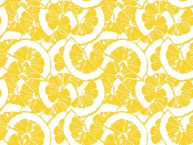 Wzór cytryny. vintage wzór z plasterkami cytryny. cytryny białe i żółte.