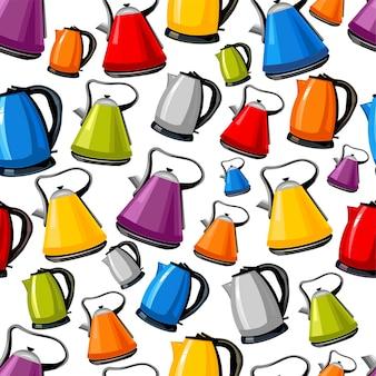 Wzór czajników elektrycznych czajników na białym tle kreskówka płaski zestaw ikon do projektowania wnętrz kuchni