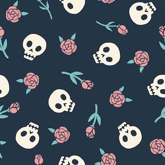 Wzór czaszki i róże