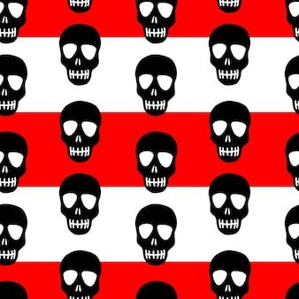 Wzór czaszki na czerwono-białe paski