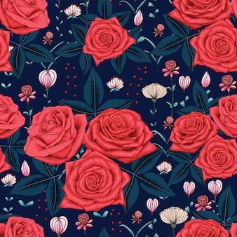 Wzór czerwone kwiaty róży