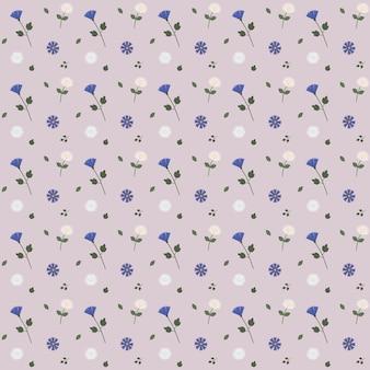 Wzór delikatnych kwiatów i liści. ilustracja wektorowa