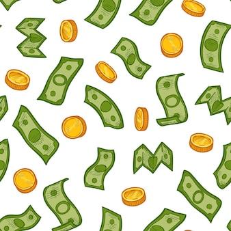 Wzór deszczu pieniędzy. zielone banknoty dolarowe i złote monety spadają. kryzys finansowy, biznes bezszwowe wektor tekstury recesji. pieniądze finanse wzór deszczu gotówki, dolar i monety ilustracja