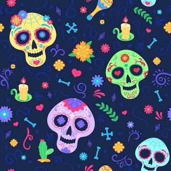 Wzór dia de los muertos. martwe symbole wakacje dzień, czaszki i kwiaty, świeca i marakasy. meksykańskie party kolorowe bezszwowe wektor tekstury. meksykański wzór z kolorową czaszką halloween