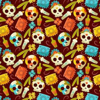 Wzór dia de muertos w płaskiej konstrukcji