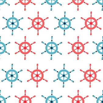 Wzór dla dzieci z hełmami niebieski i czerwony na białym tle w stylu cartoon.