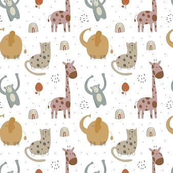 Wzór dla dzieci z różnymi uroczymi zwierzętami