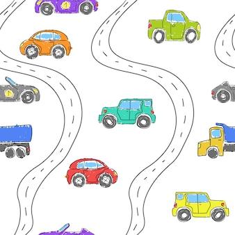 Wzór dla dzieci z uroczymi samochodami. śmieszne samochody.wektor ręcznie rysowana kolekcja do dekoracji pokoju dziecięcego bezszwowym wzorem na artykuły dziecięce, tkaniny, tła, opakowania, okładki.