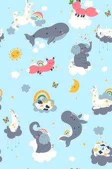 Wzór do przedszkola z uroczymi zwierzętami i chmurami. grafika wektorowa.