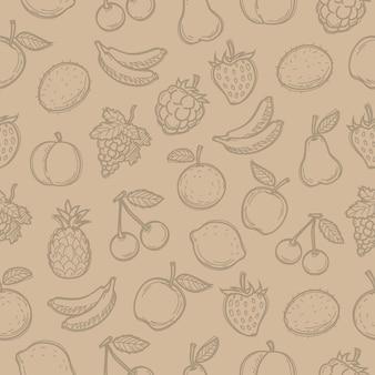 Wzór doodle narysowane owoce, istnieje możliwość edycji, format eps 10