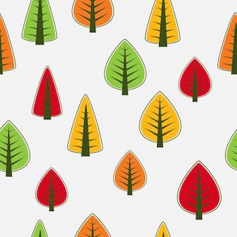 Wzór drzew bez szwu, powtarzający się. może być używany jako dekoracja tkanin, tapet, wzór dla różnych towarów, przedmiotów lub do projektowania i kreatywności.