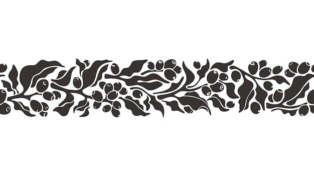 Wzór drzewa kawy kształt gałązki pozostawia ziarna i jagody streszczenie czarny ornament