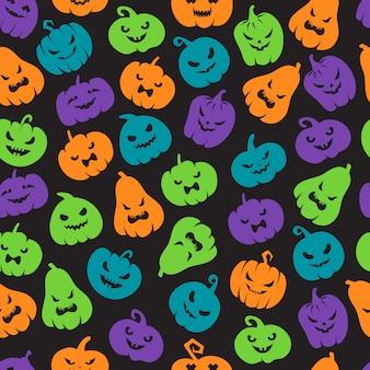 Wzór dynie halloween. przerażające sylwetki twarzy latarni. happy halloween wektor niekończące się tło