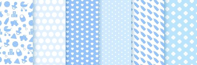 Wzór dziewczynka chłopiec. baby prysznic bezszwowe tło. niebieska dziecięca tkanina z nadrukiem. wzory na obchody urodzin dziecka, zaproszenie dla dzieci