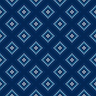 Wzór dziewiarski argyle. bezszwowa wełniana dzianina tekstura z odcieniami niebieskich kolorów.