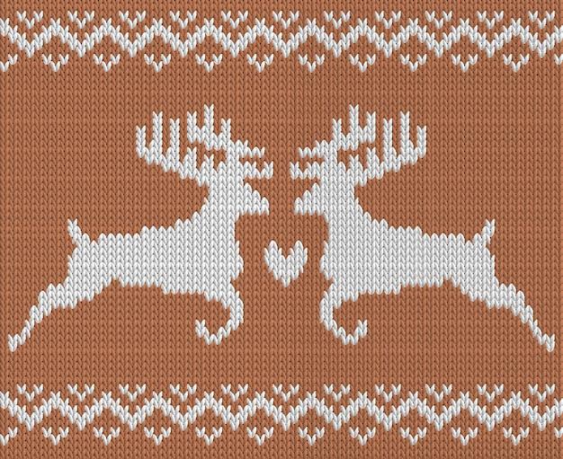 Wzór dziewiarski z dwoma jeleniami i sercem
