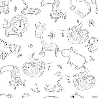 Wzór dżungli. afrykańskie dzikie zwierzęta bez szwu