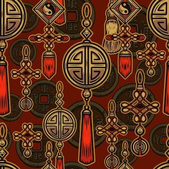 Wzór elementów chińskiego nowego roku ze szczęśliwymi wisiorkami z monetami niekończącymi się węzłami i symbolami yin yang w stylu vintage ilustracji
