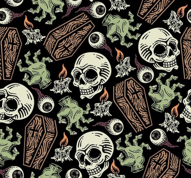 Wzór elementów grobowych. elementy horroru na doodle.