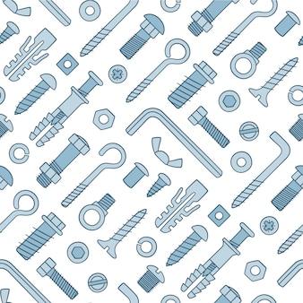 Wzór elementów złącznych. śruby, wkręty, nakrętki, kołki i nity w stylu doodle. ręcznie rysowane materiał budowlany.