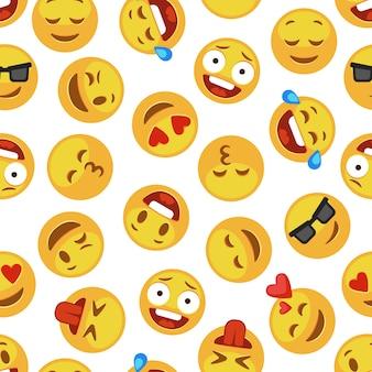 Wzór emoji twarzy. śmieszne słodkie buźki wyrażenie emocji czat komunikator kreskówka bezszwowe tapety