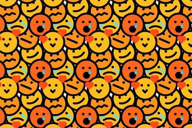 Wzór emotikonów żółty uśmiech