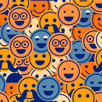 Wzór emotikony kolorowy uśmiech