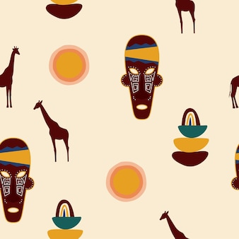 Wzór etniczne maski afrykańskie. afrykańskie tradycyjne symbole plemienne.