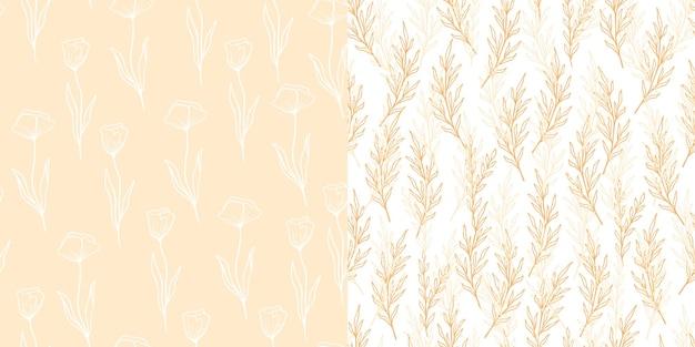 Wzór eukaliptusa i maku w stylu linii. kwiatowy oliwkowy bezszwowe ręcznie rysowane ornament. nowoczesna kolekcja wzór powtarzać z gałązką oliwną, kwiaty maku. ilustracja wektorowa, różowe tło