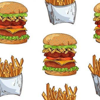Wzór fast food z burgerem. ręcznie rysować retro ilustracji. vintage design.