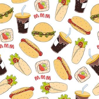 Wzór fast food z hot dogiem, ręcznie rysowane hamburger stylu doodle