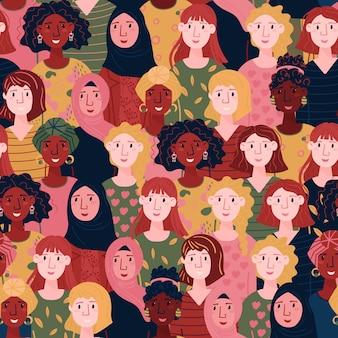 Wzór feminizmu. szczęśliwy dzień kobiety bez szwu. wielonarodowe twarze kobiet. zestaw kobiet na międzynarodowy dzień kobiet.