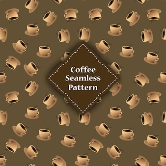 Wzór filiżanek i łuski kawy.
