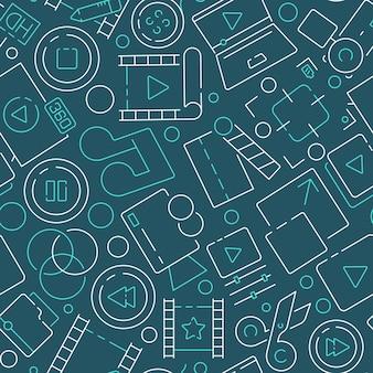 Wzór filmu. montaż produkcji filmowej symbole kina przemysł rozrywkowy program telewizyjny studio przedmioty multimedialne
