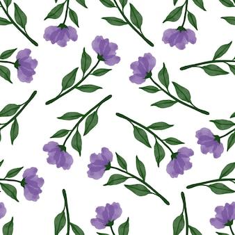 Wzór fioletowego kwiatu i liścia do projektowania tkanin i tła