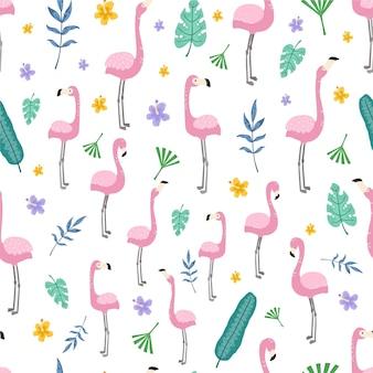 Wzór flaminga z tropikalnymi liśćmi
