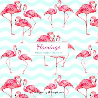 Wzór flamingi w stylu przypominającym akwarele