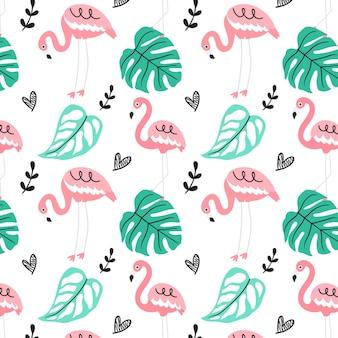 Wzór flamingo z liśćmi