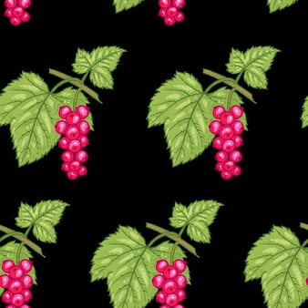 Wzór. gałęzie z liśćmi i czerwona porzeczka na czarnym tle. ilustracja do opakowań, papieru, tapet, tkanin, tekstyliów.