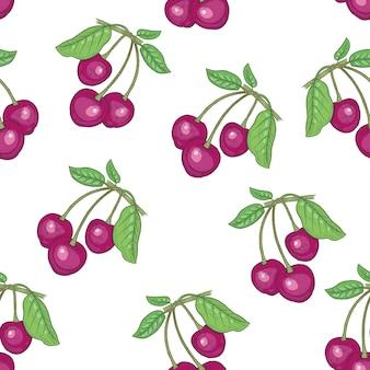 Wzór. gałęzie z liśćmi i wiśniami na białym tle. ilustracja do opakowań, papieru, tapet, tkanin, tekstyliów.