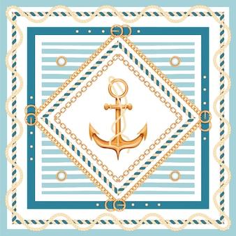 Wzór geometryczny ze złotymi łańcuchami