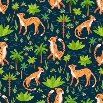 Wzór geparda i lamparty. bezszwowe z tropikalnymi liśćmi i kwiatami