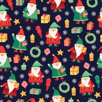 Wzór gnomów. święta bożego narodzenia, słodkie boże narodzenie elf bezszwowa tekstura. kreskówka śmieszne karzeł, dzieci sezon bajki tło wektor. bezszwowy wzór tła, ilustracja bożonarodzeniowa postaci