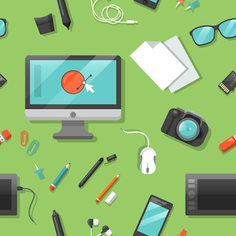 Wzór graficzny z narzędziami komputerowymi i cyfrowymi.