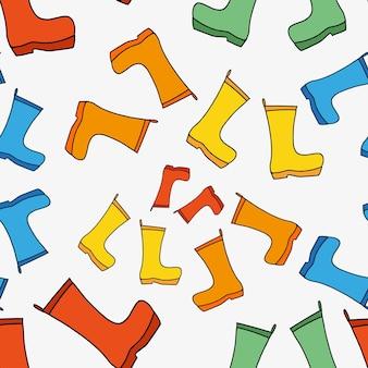 Wzór gumowych kaloszy na chłodną deszczową pogodę sezonowy symbol jesieni