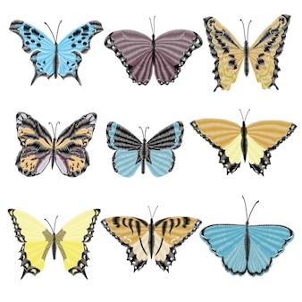 Wzór haftu motyla do odzieży. dekoracja wektor owada.