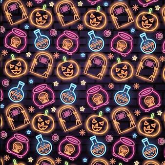 Wzór halloween neony