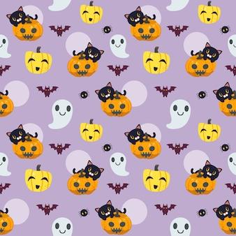 Wzór halloween w stylu płaski wektor. ilustacja uroczego kota siedzącego na dyni z duchem i nietoperzem