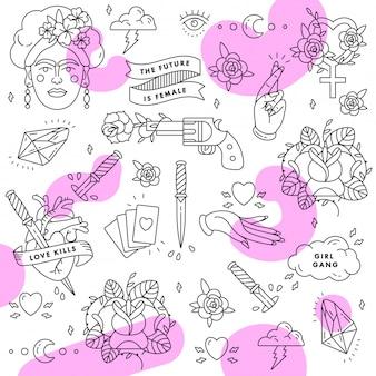 Wzór. hasło feminizmu. kobieta racja. cytat siły dziewczyny. zestaw ikon mody symbol z portretem fridy kahlo, diamentem, różami i kobiecymi symbolami. backgroung.