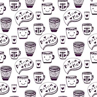 Wzór herbaty i kawy. doodle filiżanek bezszwowe tło. pij mnie. wektor